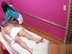 Real asian masseuse welcoming customer