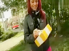 Slutty redhead chick gets anal ripped somewhere in public