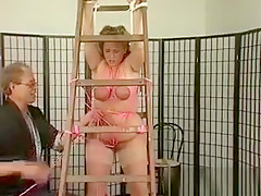 Mature blonde BBW slut entangled