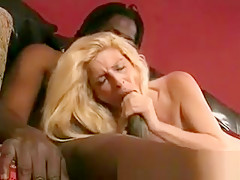 Amazing hot blonde MILF slut sucking