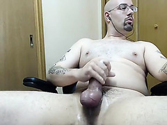 Male bondage jerked off