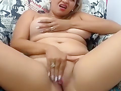 Blonde striptease and fingering in lingerie