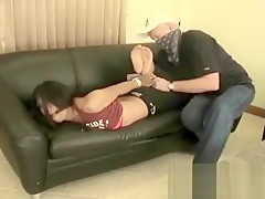 Chubby dude ties up brunette as he fucks her rough
