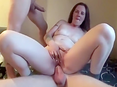 Double penetration hardcore threesome with blonde