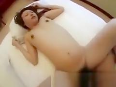 Asian pregnant slut gets pussy ravaged