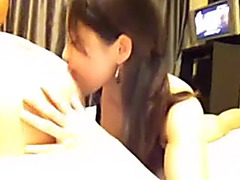 Bewitching Chinese angel sucks jock by her hot small face hole