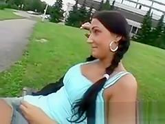 Brunette Amateur With Braids Finger Banged On Public Bench