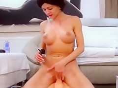 Hot latina babe masturbating and dildo riding in sexroom