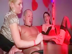 Hot and busty blond girl is riding