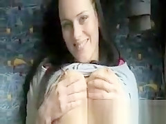 Sexy brunette amateur sucks and banged in a train to earn