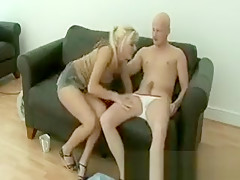 This blonde slut is up for sucking he just needs to whip it