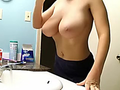My hot young hottie with massive natural knockers in the bath
