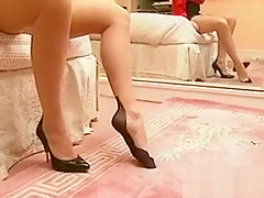 Sexy brunette babe getting horny taking
