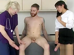 Nymphos pound fellows asshole with massive strap-on dildos a