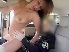 Hungarian fake cop bangs super hot brunette