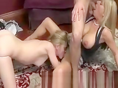 Teen licks out step mom who sucks on her boyfriends cock