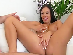 Deprived Of A Boyfriend A Girl Stretches Pussy With A Sextoy