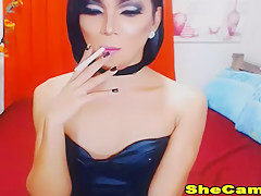 Pretty hot shemale Enjoys Playing Her Cock