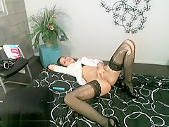 Solo Babe In Stockings Masturbating