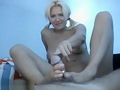 Cute Blonde In Footjob And Handjob Action