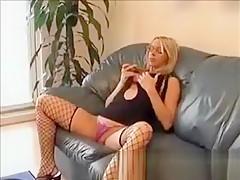 Blonde French Girlfriend In Fishnets