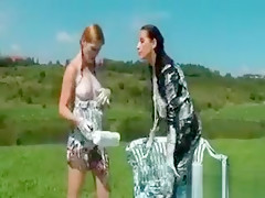 Clothed Tramps Get Messy Outdoor
