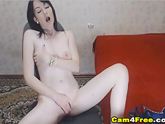 Hot Beautiful Brunette Babe Plays Her Sweet Pussy
