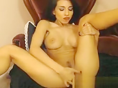 Super Hot Glamour Babe Strips and Fingers her Pussy Hard