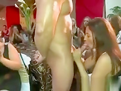 Amateur party girl sucks and gets jizzed by CFNM guy