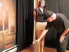 Helpless girl holding pee, finally she get help