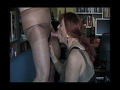 Stocking fetish and cock sucking