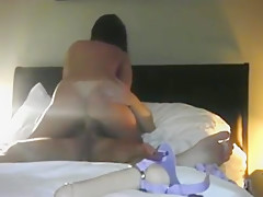 Horny homemade bedroom, reverse cowgirl, cellphone adult clip