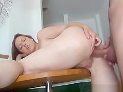 French couple enjoying hot juicy sex on balcony