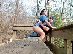 Outdoors Blowjob On The Bench From My Horny Wife
