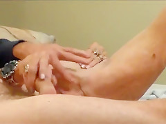 Old Granny Gives A Handjob And Gets Fingered