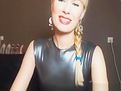 Sexy blonde in latex skirt is looking for a man