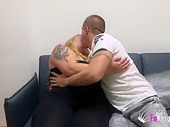 Fat blonde and her boyfriend have a horny sex session