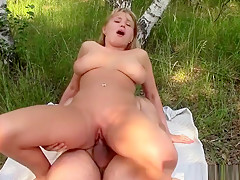 Big Tits Blonde Chick Enjoys Riding In Nature