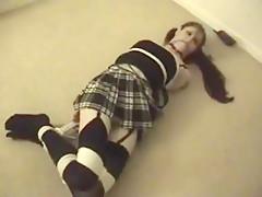 Girl tied in black socks
