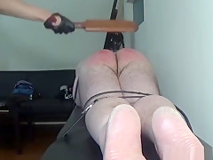 Wooden paddling for a naughty husband's ass that turns red