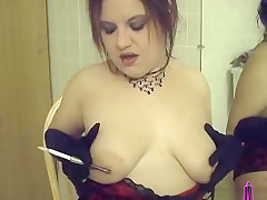 Smoking Vintage Holder and Gloves in the Bathroom - Amateur Hot Wife Clip