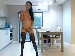 Topless webcam smoker (no sound)