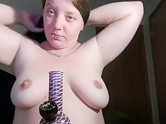 BBW babe sensually smokes a bong  does ASMR to blow your mind