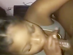 Ebony Queen Gives Sloppy Blowjob While Boyfriend's At Work