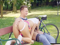 Romantic anal sex on park bench