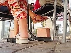 Candid mature feet at bar