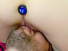 femdom close up facesitting with anal plug - Today he ate my pussy
