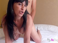 Horny milf crazy for young cocks eats up a shy teacher
