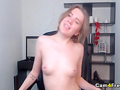 Blonde Babe Sucks Dildo Then Fuck Her Pussy
