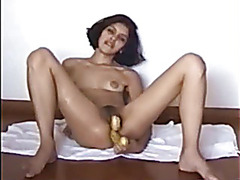 Russian - Arab bitch Sitting in chair Gushing then Enormous Facial. With British Slaver.